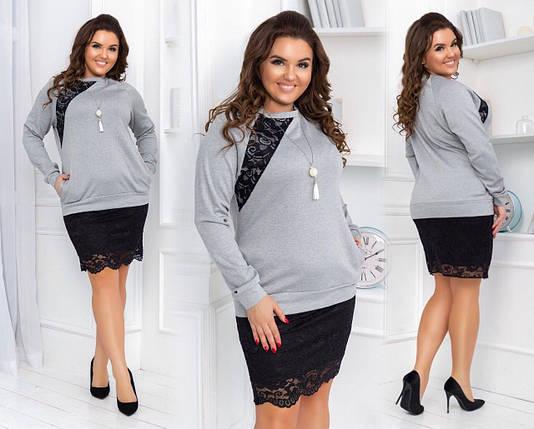 """Стильное женское платье с гипюровой вставкой ткань """"Французский трикотаж"""" 50, 52, 54 размер батал, фото 2"""
