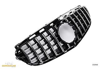 Решетка радиатора тюнинг Mercedes w212 (13-16) стиль AMG GT-R (хром полоски)
