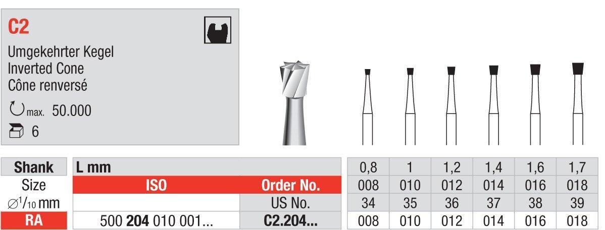 Твердосплавные боры для углового наконечника (обратный конус)