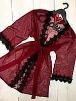 Бордовый прозрачный халат из микросетки, красивые халаты.