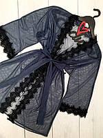 Прозрачный халат из микросетки с кружевом, халаты женские.