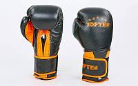 Перчатки боксерские кожаные на липучке TOP TEN (р-р 10-12oz, черный-оранжевый)