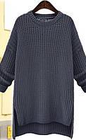 Длинный зимний свитер туника однотонный серого цвета опт, фото 1
