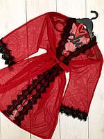 Червоний халат з мікросітки з мереживом, халати жіночі.