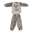 Піжама дитяча махрова Леопард для дівчинки велсофт, фото 3