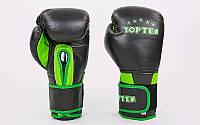 Перчатки боксерские кожаные на липучке TOP TEN (р-р 10-12oz, черный-салатовый)