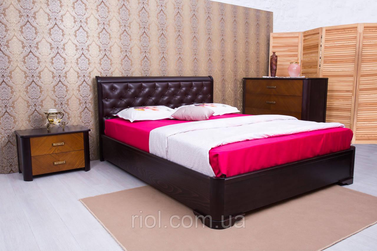 Двоспальне ліжко з бука Мілена з м'якою спинкою ромби ТМ Олімп