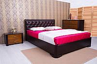 Двуспальная кровать из бука Милена с мягкой спинкой ромбы ТМ Олимп