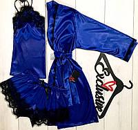 Синий комплект для дома халат+майка+шорты 090-002.