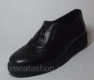 Туфлі жіночі шкіряні на танкетці чорні Wellad Black , весна/осінь, розмір 36-41