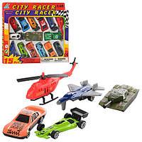 Набор машинок City Racer 92753-15: 12 машинок, вертолет, самолет, танк