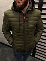 Куртка мужская весенняя зеленого цвета стеганая с капюшоном
