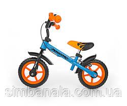 Дитячий велобіг від(беговел) Dragon з ручним гальмом від Milly Mally, Польща синій з помаранчевим