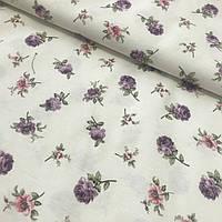 Ткань декоративная с тефлоновой пропиткой с мелкими фиолетовыми и розовыми цветочками, фото 1