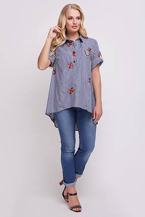 Рубашка женская Ангелина вышивка синяя клетка , фото 2