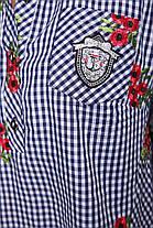 Рубашка женская Ангелина вышивка синяя клетка , фото 3
