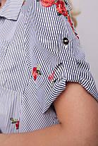 Рубашка женская Ангелина вышивка черно-белая Размеры 48, 50, 52, 54, 56, 58., фото 3