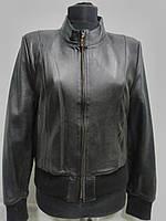 Куртка из натуральной кожи на молнии под резинку стойка чёрная длина-50см 44р-46р ОГ-94 ОБ-96