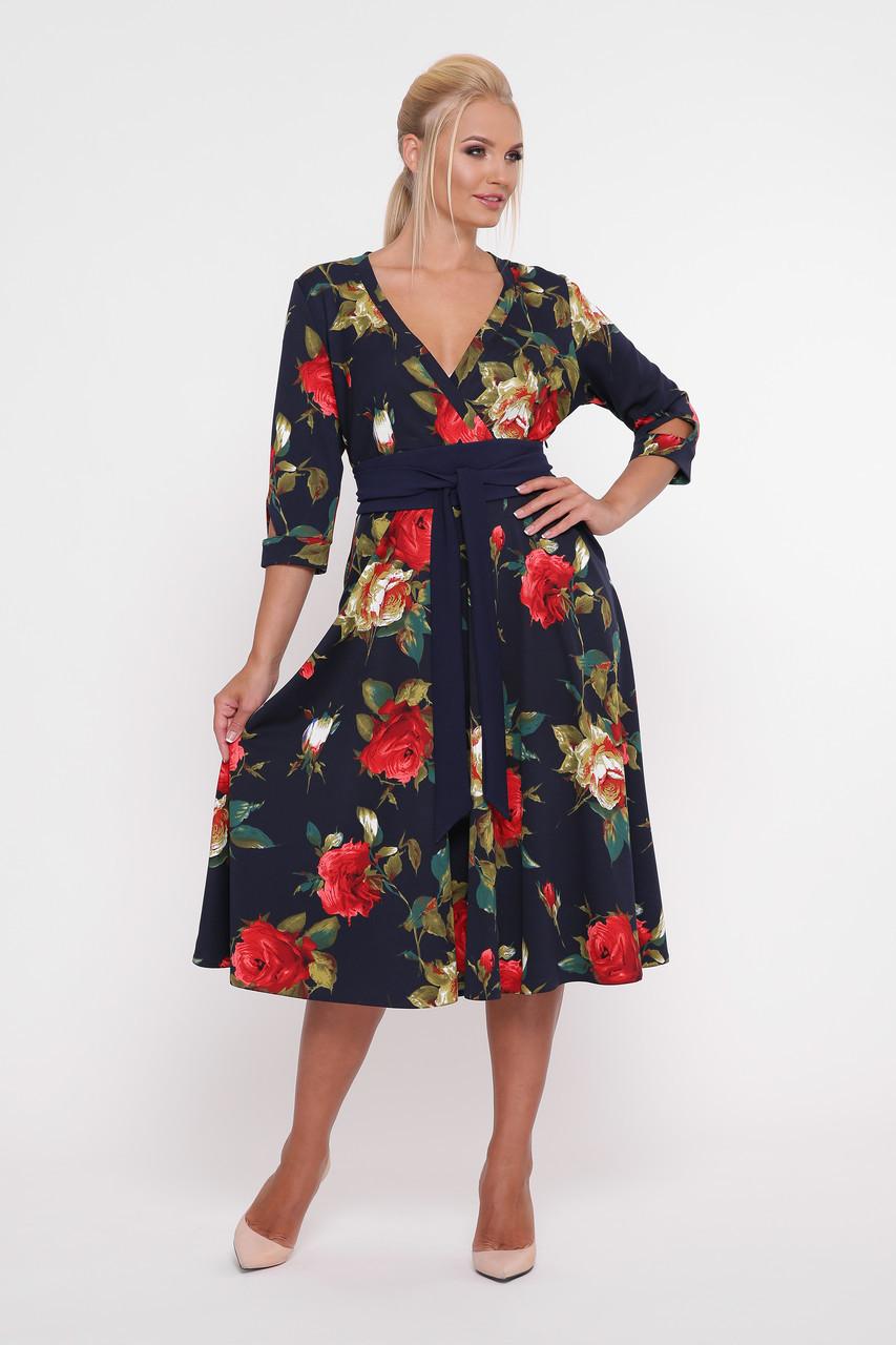 Платье расклешенное Луиза крупные розы Размеры 50, 56
