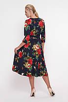 Платье расклешенное Луиза крупные розы Размеры 50, 56, фото 2