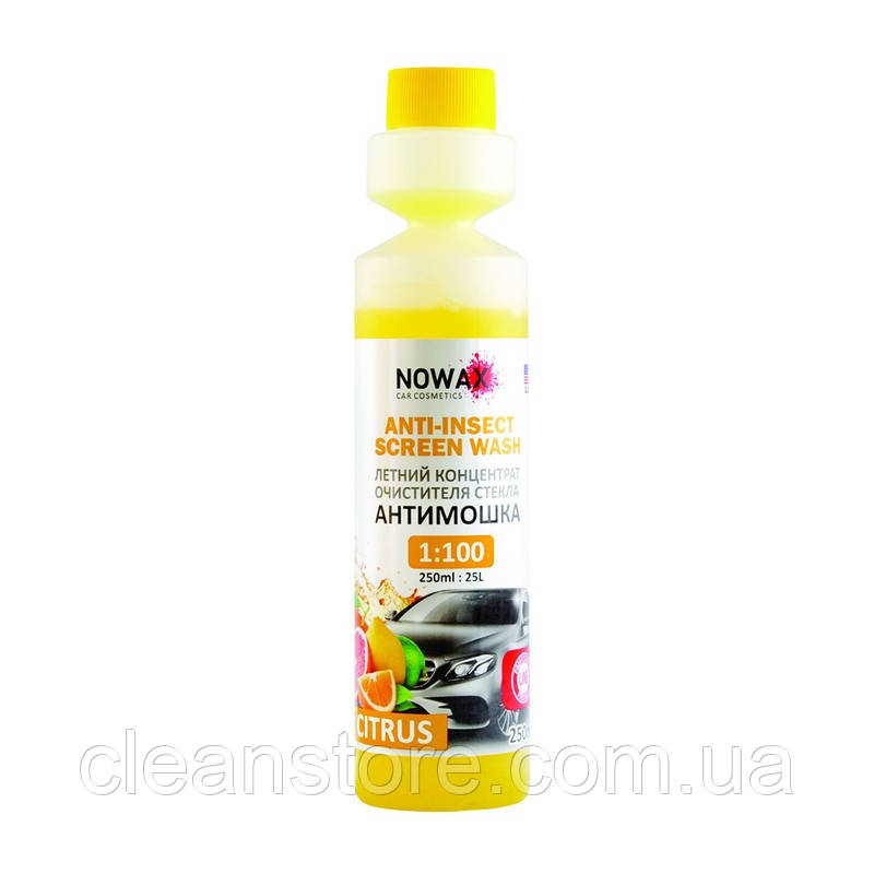 Омивач скла NOWAX Anti-Insect Sreen Wash Citrus Річний концентрат 250 мл NX25025