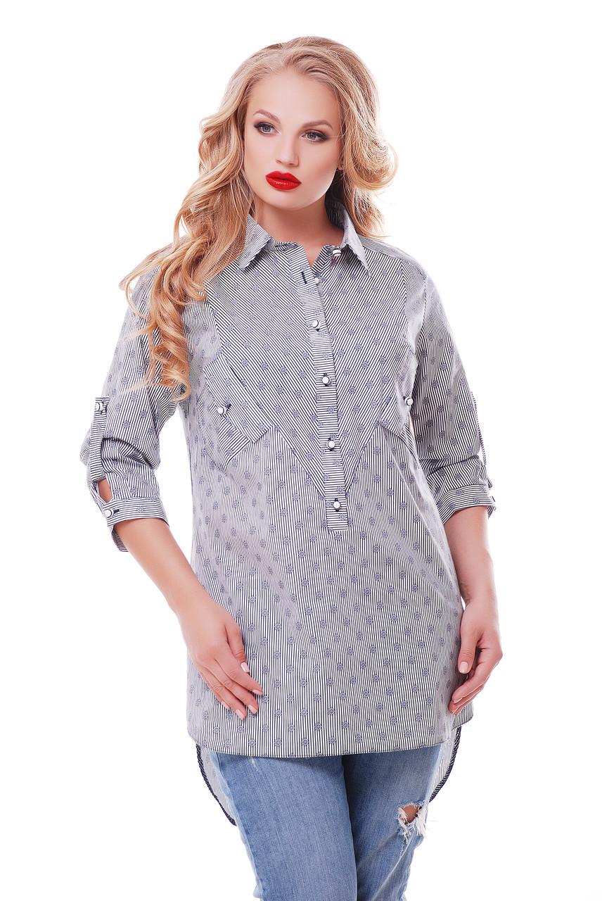Рубашка женская Стиль морская Размеры 48, 50, 52, 54, 56, 58.