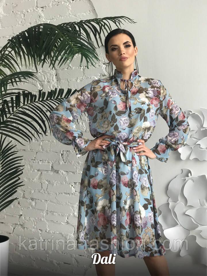 Женское шифоновое платье с цветочным принтом (2 цвета)