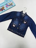 Джинсовый пиджак(куртка) детский для девочек т емно синий джинс рост ,128