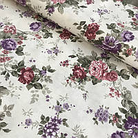 Тканина декоративна з тефлоновим просоченням з фіолетовими і рожевими квітами, фото 1