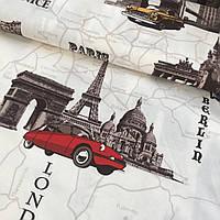Ткань декоративная с тефлоновой пропиткой с машинами и городами: Лондон, Париж, Рим, фото 1