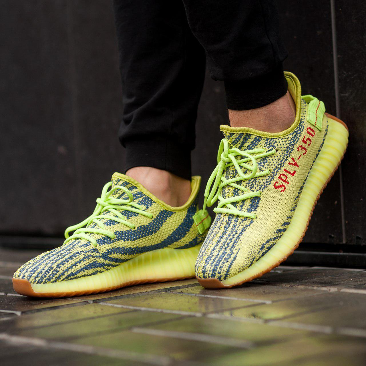 Мужские кроссовки Adidas Yeezy Boost 350 Yellow (Реплика ААА+)