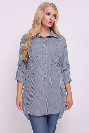 Рубашка женская Стиль черно-белая Размеры 48, 50, 52, 54, 56, 58., фото 2