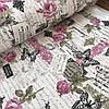 Ткань декоративная с тефлоновой пропиткой Прованс с открытками и розами