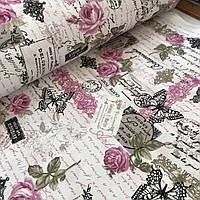 Ткань декоративная с тефлоновой пропиткой Прованс с открытками и розами, фото 1