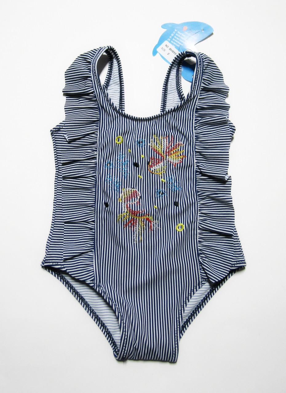Слитный детский купальник для девочек 1-2-3 года Темно-синий + белый