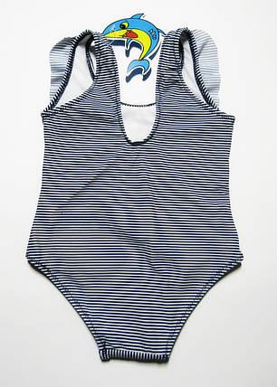 Слитный детский купальник для девочек 1-2-3 года Темно-синий + белый, фото 2