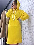Женское прямое платье-худи с капюшоном и карманам (в расцветках), фото 2