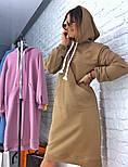 Женское прямое платье-худи с капюшоном и карманам (в расцветках), фото 4