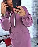 Женское прямое платье-худи с капюшоном и карманам (в расцветках), фото 7