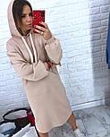 Женское прямое платье-худи с капюшоном и карманам (в расцветках), фото 9