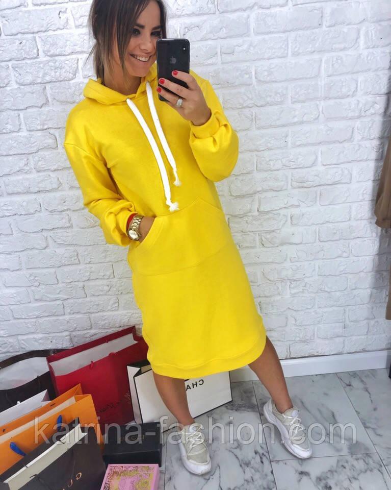 Женское прямое платье-худи с капюшоном и карманам (в расцветках)