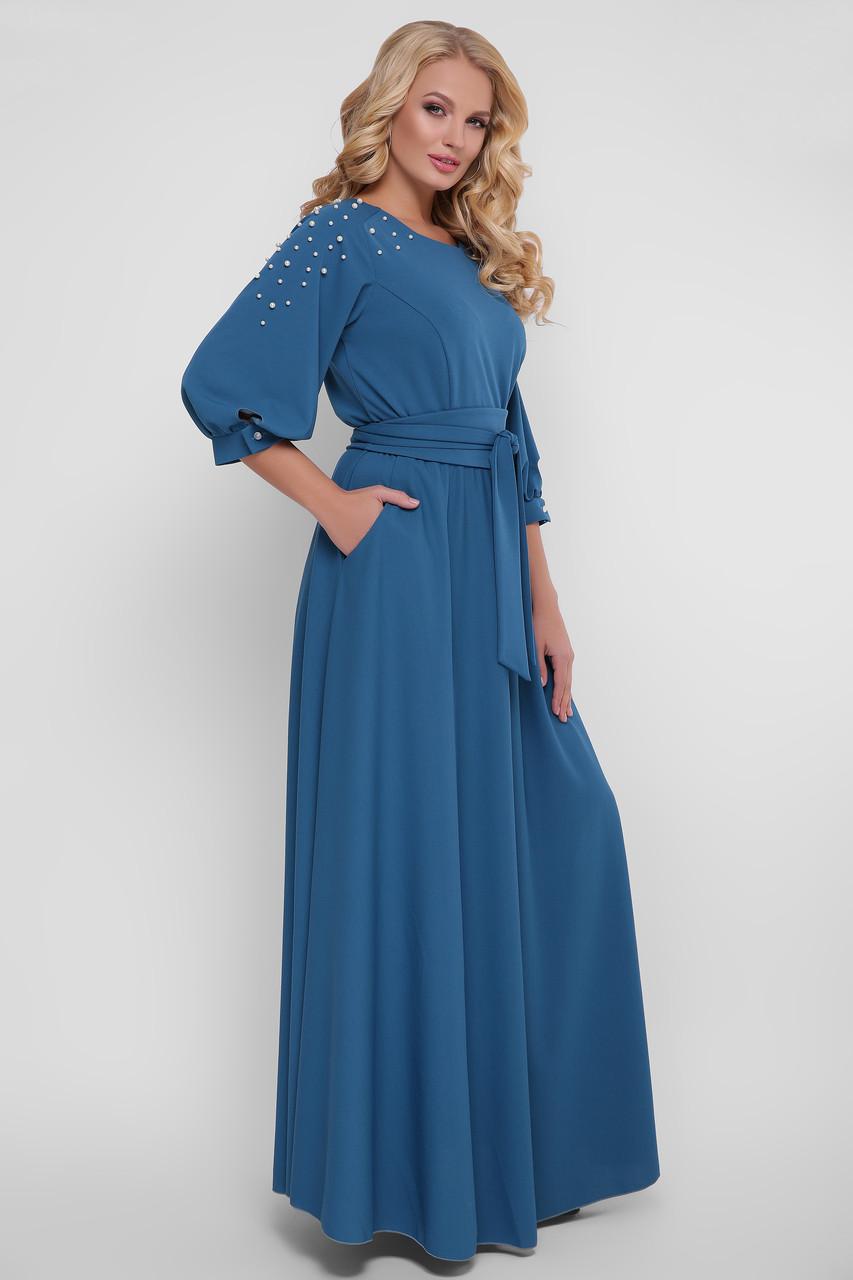 Нарядное платье в пол Вивьен бирюза Размеры двойные: 1( идет на 48-50), 2( идет на 52-54), 3( идет на 56-58)