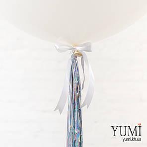 Новогодний шар-гигант белого цвета с гирляндой, фото 2