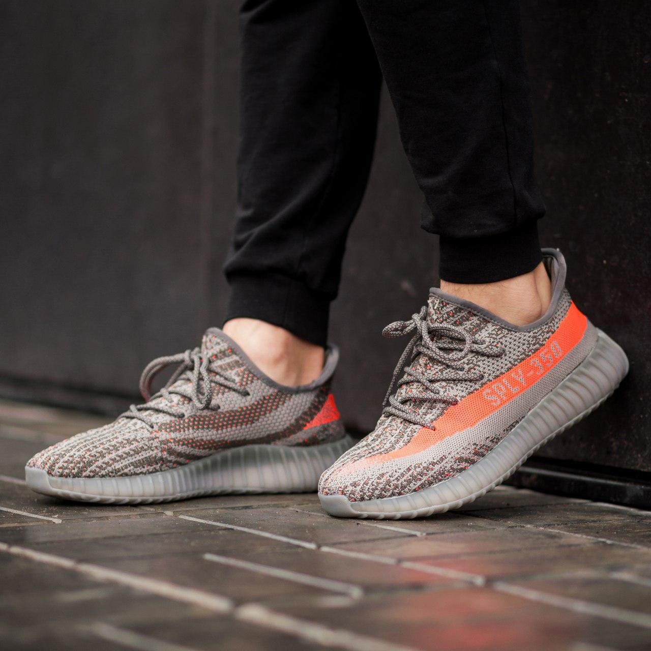 Мужские кроссовки Adidas Yeezy Boost 350 Gray (Реплика ААА+)