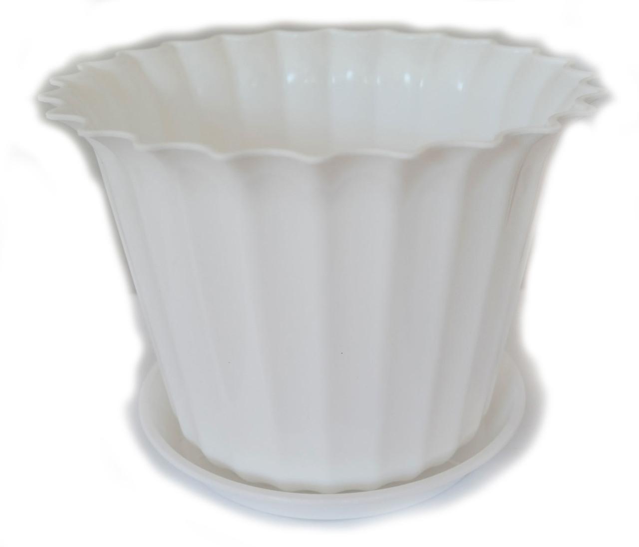"""Горщик пластиковий з підставкою, квітковий, """"Астра"""", 15см, ММ (Білий)"""