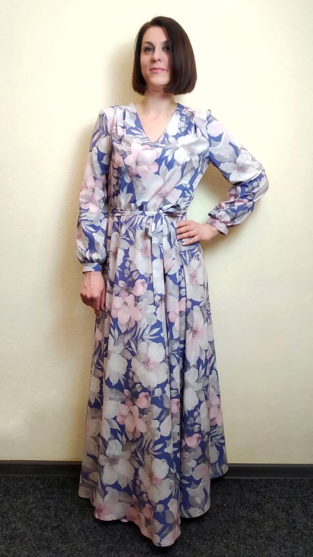 Длинное платье макси с юбкой полусолнце, П261