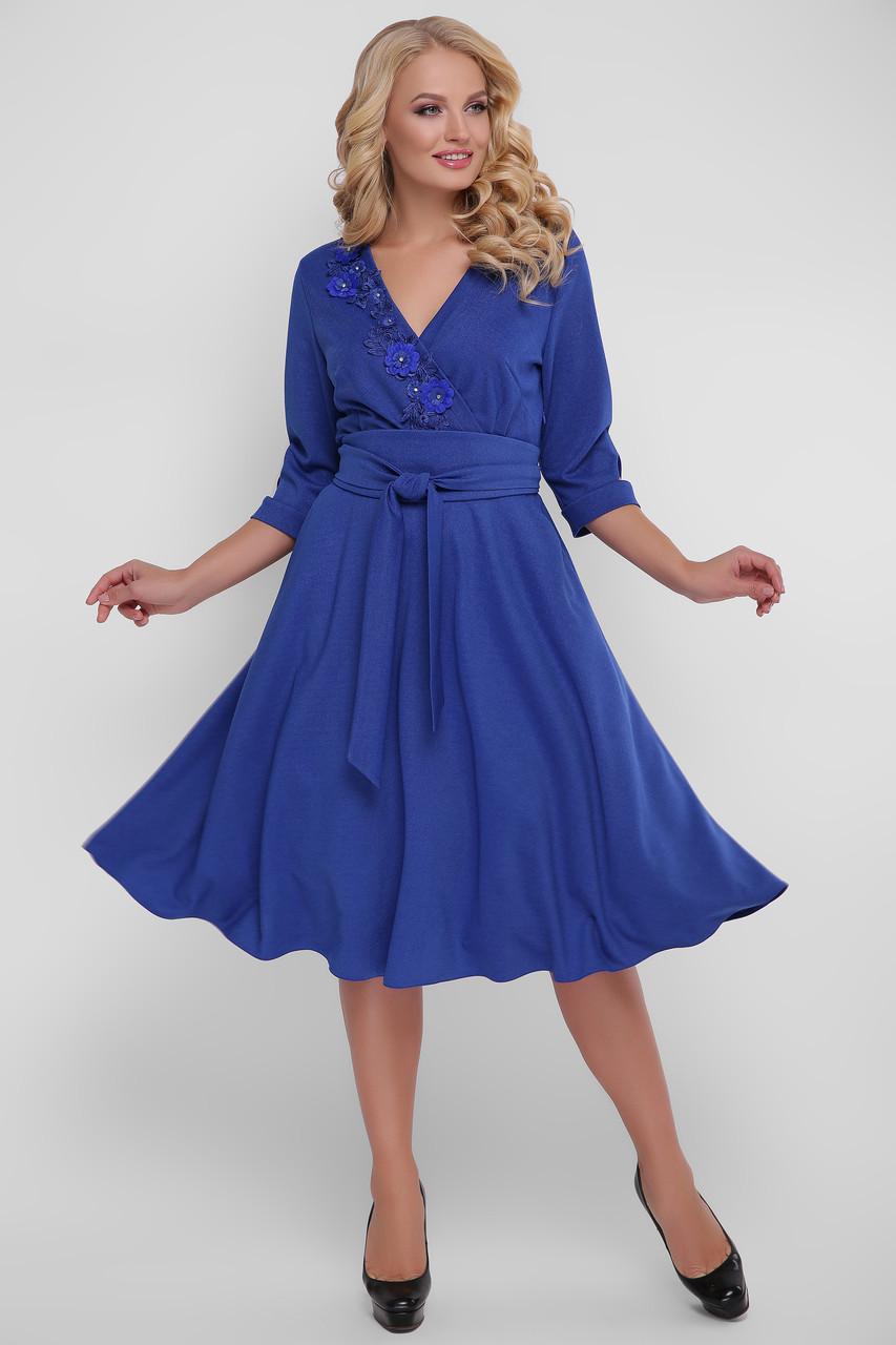 Расклешенное торжественное платье цвет электрик размер 48,50,52,54 с запАхом