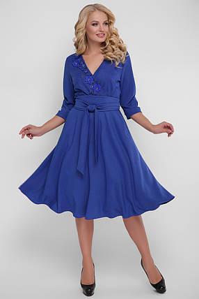 Расклешенное торжественное платье цвет электрик размер 48,50,52,54 с запАхом, фото 2