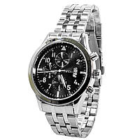 Кварцевые часы SWIDU SWI-081 Silver + Black стальные нержавеющие с кварцевым механизмом мужские