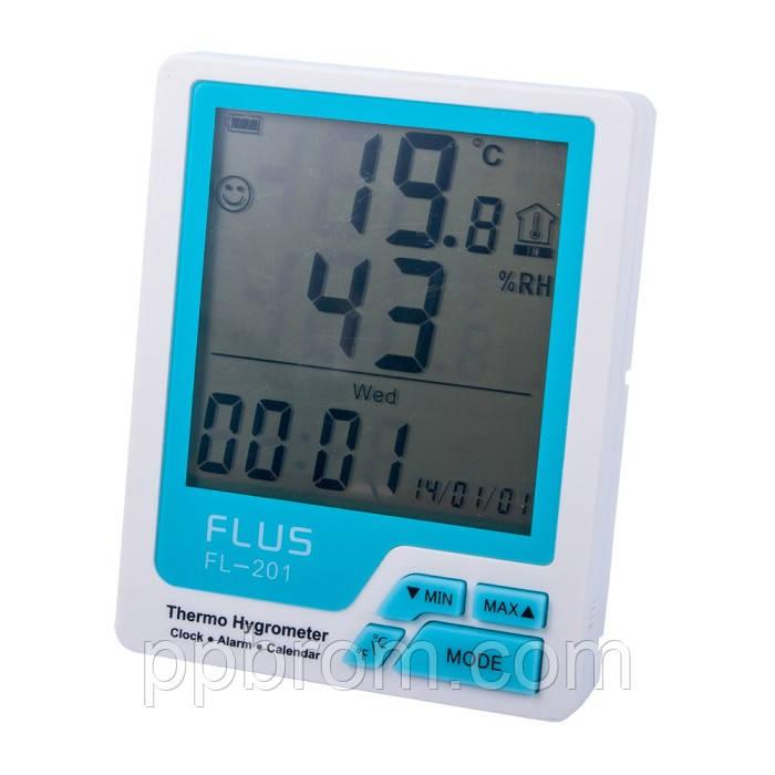 """Измеритель температуры и влажности с часами """"FL-201"""", фото 1"""